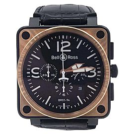 Bell & Ross BR01-94-S Black PVD & 18K Rose Gold Chronograph 46mm Mens Watch