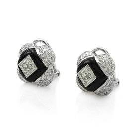 18K White Gold Black Onyx and 1.83ctw. Pave Diamond Quatrefoil Earrings