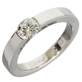 Cartier 18K White Gold Solitaire 0.41ct Diamond Ring Size 5