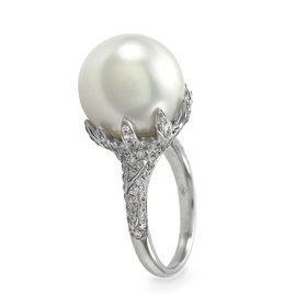 18K White Gold White South Sea Pearl and 0.85ctw. Pave Diamond Ring Size 6.5