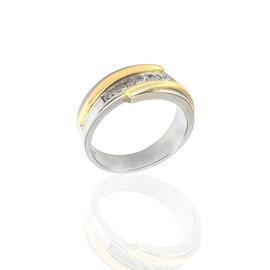 14K White & Yellow Gold Diamond Bypass Band Size 10.75