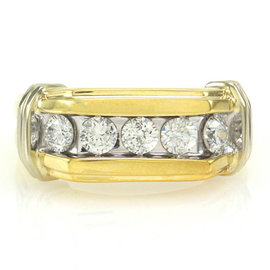 10K White & Yellow Gold Diamond Ring Size 9.75