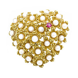 Tiffany & Co. 18K Yellow Gold Pearl and Ruby Heart Brooch