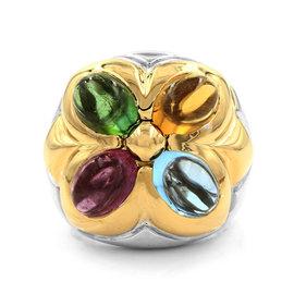 Bulgari Allegra 18K White & Yellow Gold Multi-Color Gemstone Flower Ring Size 6
