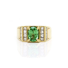18K Yellow Gold Tsavorite and Diamond Ring Size 10