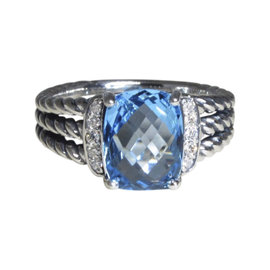David Yurman Petite Wheaton Sterling Silver with Blue Topaz & Diamond Ring Size 6.5