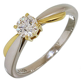 Mikimoto 18K Yellow Gold and Pt900 Platinum with 0.30ct Solitaire Diamond Ring Size 5.25