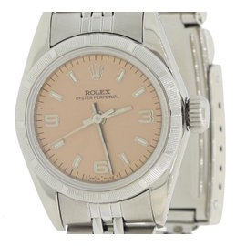 Rolex Oyster Perpetual 67230 Stainless Steel Rose Arabic Dial 24mm Womens Watch