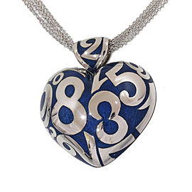 Franck Muller Talisman 18K White Gold and Enamel Heart Necklace