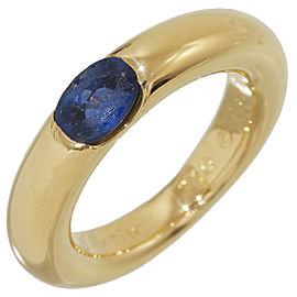 Cartier Ellipse 18K Yellow Gold with Blue Sapphire Band Ring Size 3.5