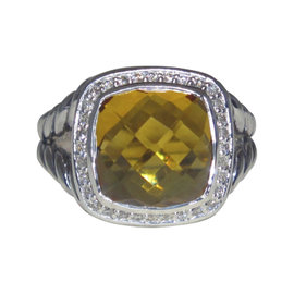 David Yurman Albion Sterling Silver with Citrine and 0.22ct. Diamond Ring Size 8