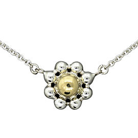 Tiffany & Co. 925 Sterling Silver & 18K Yellow Gold Jolie Flower Bead Pendant Necklace