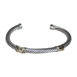 David Yurman Double X 14K Yellow Gold & Sterling Silver Cuff Bracelet