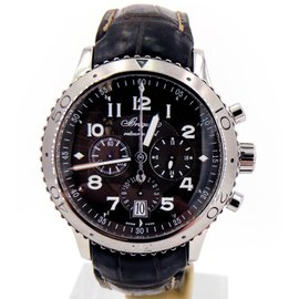 Breguet Transatlantique Type XXI Flyback 3820ST/92/9ZU Stainless Steel & Leather Strap Automatic 42.5mm Mens Watch