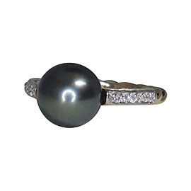 David Yurman 18K Yellow Gold with Black Pearl & 0.38ct Diamond Cable Ring Size 6