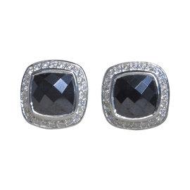 David Yurman Petite Albion 925 Sterling Silver with Hematine 0.28ctw. Diamond Earrings