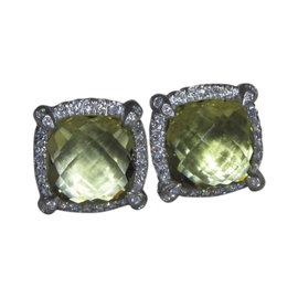 David Yurman Sterling Silver Lemon Citrine and Diamond Chatelaine Earrings
