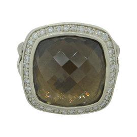 David Yurman Albion 925 Sterling Silver with Smoky Quartz & 0.30ct Diamond Cocktail Ring Size 5.5