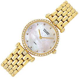 Van Cleef & Arpels 18K Yellow Gold Mother Of Pearl Diamond 24mm Womens Watch