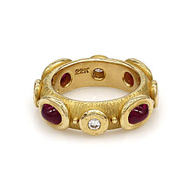 Cabochon Ruby & Diamond Etruscan Eternity Band Style in 22K Yellow Gold