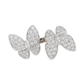 Van Cleef & Arpels 18K White Gold Diamond Two Butterfly Between the Finger Ring Size 5.5