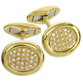 Piaget 18K Yellow Gold and Diamond Cufflinks