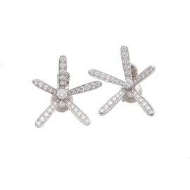 Van Cleef & Arpels Caresse D'Eole 18K White Gold and 3.60ct. Diamond Earrings
