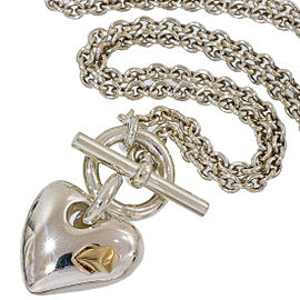 Hermes Sterling Silver and 18K Yellow Gold Heart Pendant Necklace