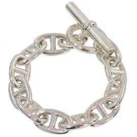 Hermes Sterling Silver Chain Bangle Bracelet