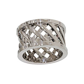 Hermes 18K White Gold and Diamond Band Ring Size 5.75