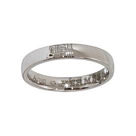 Hermes H Logo 18K White Gold Band Ring Size 5