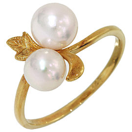 Mikimoto 18K Yellow Gold with 2 Pearl Band Ring Size 6