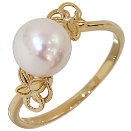 Mikimoto 14K Yellow Gold and Pearl Band Ring Size 5.75