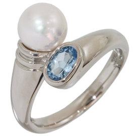 Mikimoto Platinum with Pearl & Aquamarine Band Ring Size 6.75
