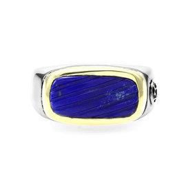David Yurman 925 Sterling Silver and 18K Yellow Gold Lapis Inlay Ring Size 11