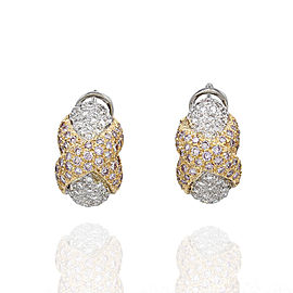 Pave Pink and White Diamond X Earrings in Two Tone Gold