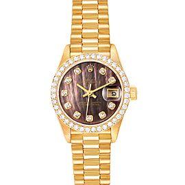 Rolex President Datejust Yellow Gold Diamond Ladies Watch 69138 Box Papers