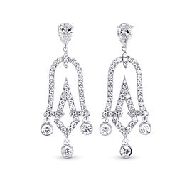 Leibish 18K White Gold with 1.79ctw Diamond Drop Earrings