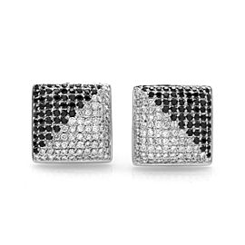 Pavé Black & White Diamond Cluster Contemporary Earrings in 18K White Gold