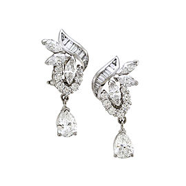 Diamond Cluster Earrings in 850 Platinum