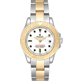 Rolex Yachtmaster 29 Steel Yellow Gold White Dial Ladies Watch 169623 Box Card
