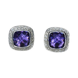 David Yurman Petite Albion 925 Sterling Silver with Amethyst and 0.25ct Diamond Earrings