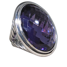 David Yurman 925 Sterling Silver with Oval Amethyst Ring Size 6