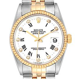 Rolex Datejust Steel Yellow Gold White Roman Diamond Dial Mens Watch 16233 Box