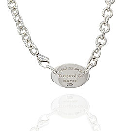 Tiffany & Co. Return to NY 925 Sterling Silver Oval Tag Necklace
