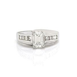 Emerald Cut Diamond Engagement Ring w/ Princess Diamond Accents in Platinum | FJ