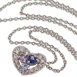 Vecchio 18K White Gold Diamond, Sapphire Pendant