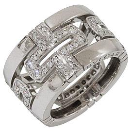 Bulgari Parentesi 18K White Gold with Diamonds Open Ring Size 4