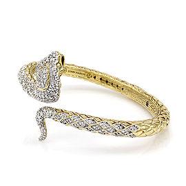 John Hardy 18K Yellow & White Gold 1.22ctw Diamond Cobra Bracelet