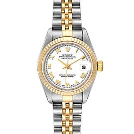 Rolex Datejust 26 Steel Yellow Gold White Dial Ladies Watch 79173 Box Papers